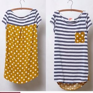 Anthro mustard polka dot striped knit high low tee